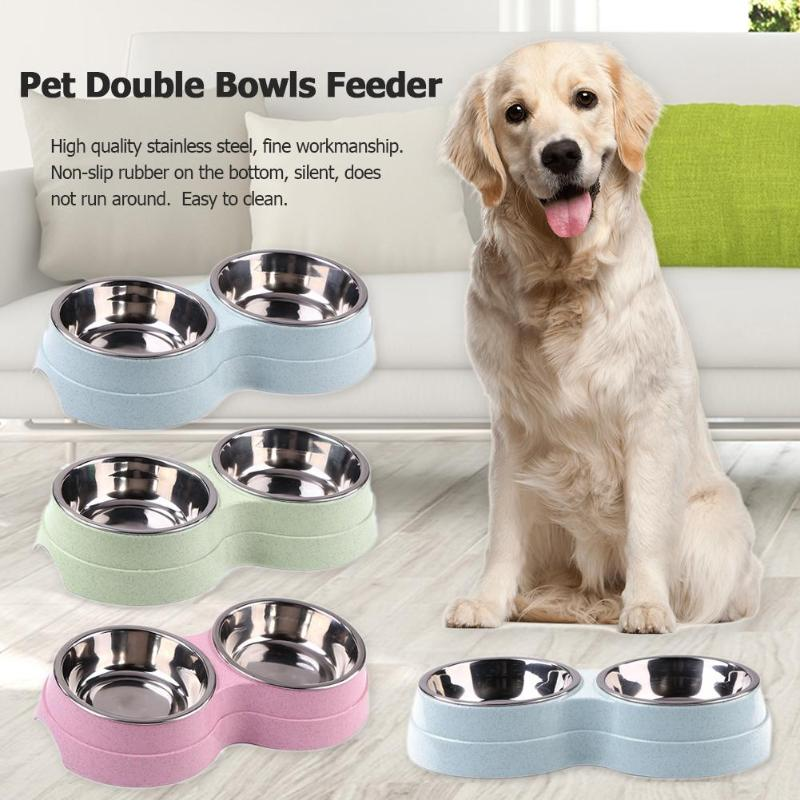 Dog Double Bowl Puppy Food Water