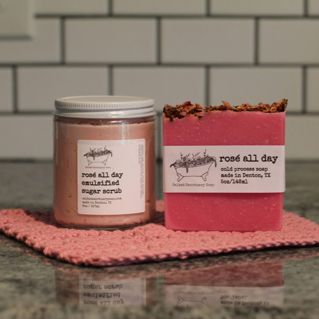 Rose Combo from Salted Sanctuary Soap, with rosé all day sugar scrub and cold process bar soap.