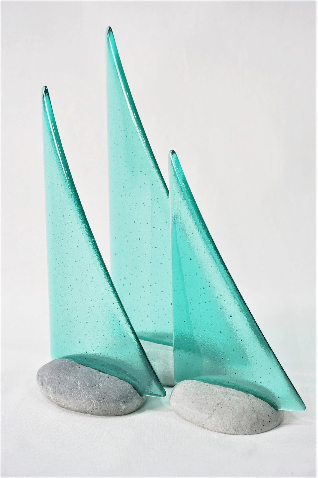 Aqua fused glass pebble yacht boat