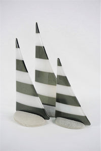 Black and white fused glass pebble yacht boat