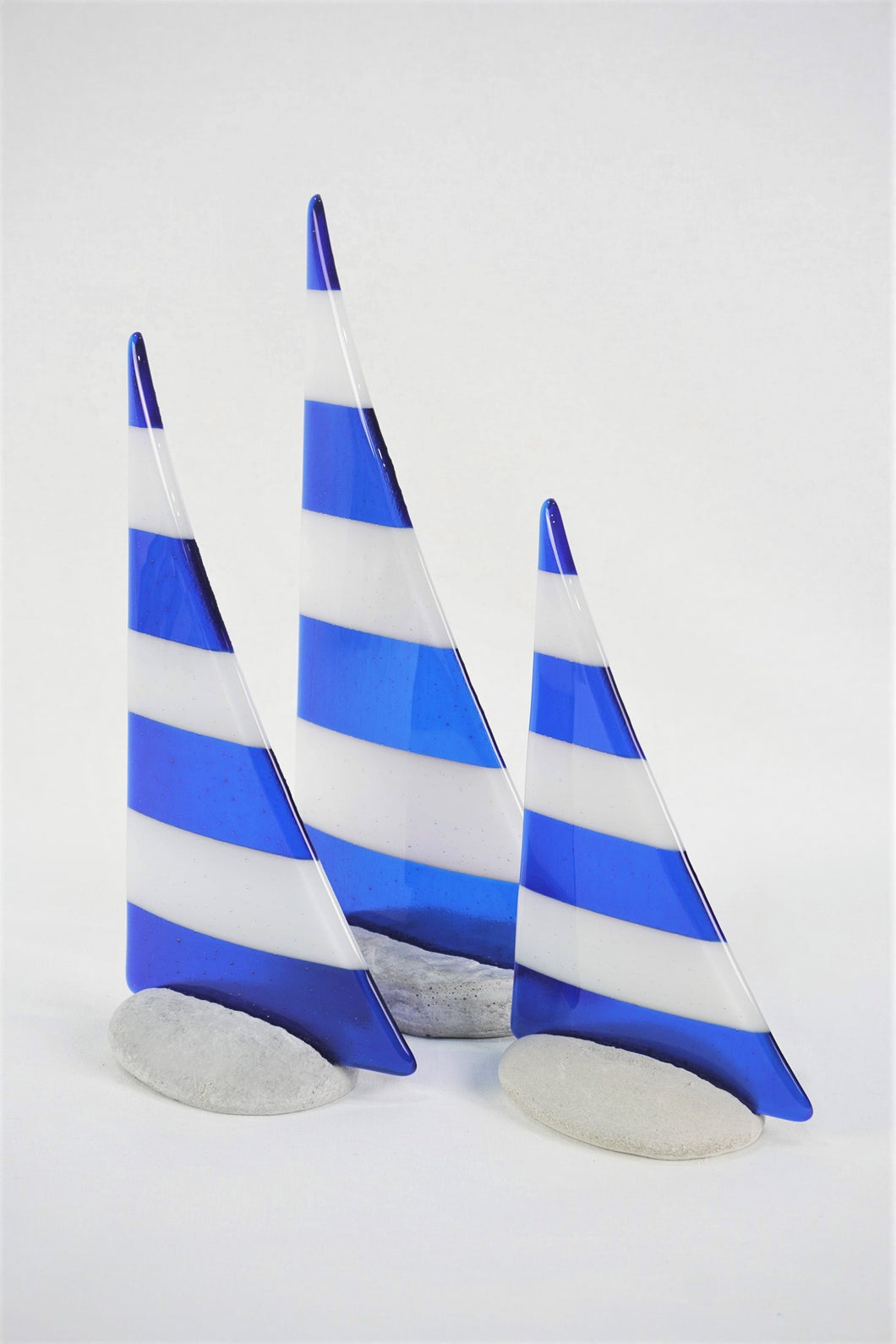 Blue and white fused glass pebble yacht boat