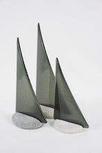 Load image into Gallery viewer, Charcoal fused glass pebble yacht boat