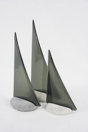 Charcoal fused glass pebble yacht boat