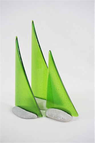 Green fused glass pebble yacht boat