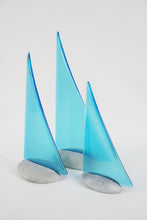 Load image into Gallery viewer, Light Turquoise fused glass pebble yacht boat