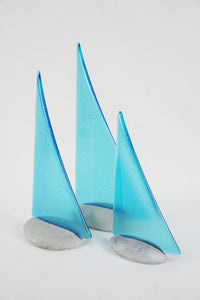 Light Turquoise fused glass pebble yacht boat