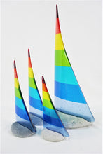 Load image into Gallery viewer, Rainbow fused glass pebble yacht boat super yacht