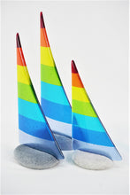 Load image into Gallery viewer, Rainbow fused glass pebble yacht boat
