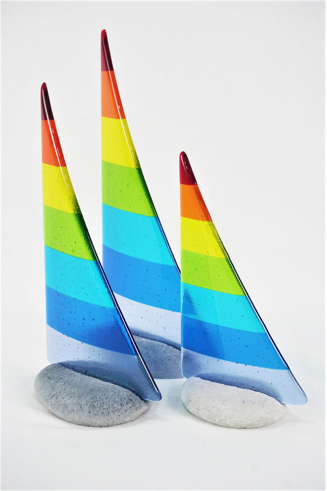 Rainbow fused glass pebble yacht boat