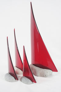 Red fused glass pebble yacht boat super yacht