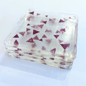 Triangles fused glass coaster