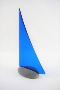 True blue fused glass pebble yacht boat