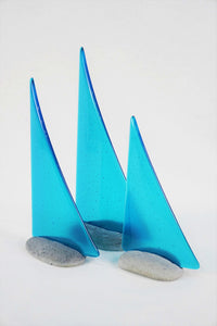 Turquoise fused glass pebble yacht boat