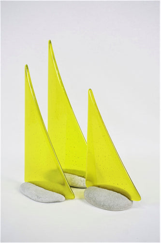 Yellow fused glass pebble yacht boat