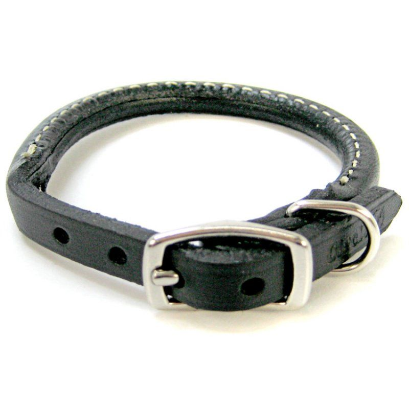 "Circle T Pet Leather Round Collar - Black 10"" Neck - All Pets Store"