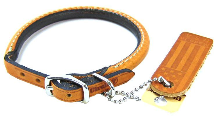 "Circle T Leather Round Collar - Tan 12"" Neck"