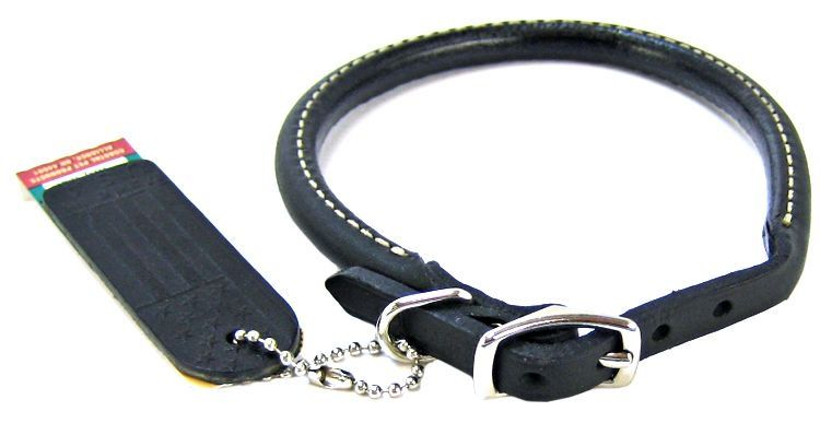 "Circle T Pet Leather Round Collar - Black 14"" Neck"