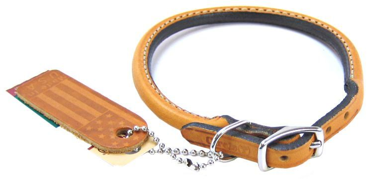"Circle T Leather Round Collar - Tan 14"" Neck"