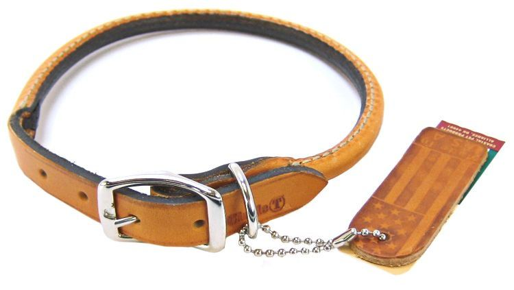 "Circle T Leather Round Collar - Tan 16"" Neck"