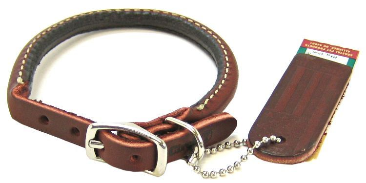 "Circle T Latigo Leather Round Collar 12"" Long x 3/8"" Wide - All Pets Store"