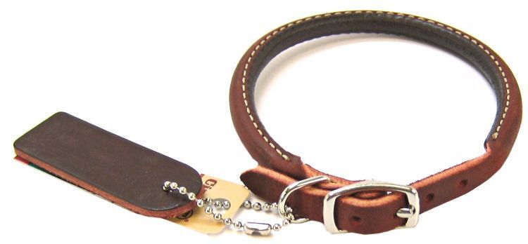 "Circle T Latigo Leather Round Collar 14"" Long x 3/8"" Wide - All Pets Store"