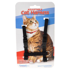 "Tuff Collar Nylon Adjustable Cat Harness - Black Girth Size 10""-18"" - All Pets Store"