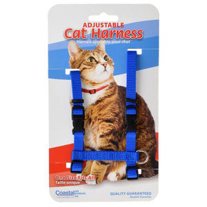 "Tuff Collar Nylon Adjustable Cat Harness - Blue Girth Size 10""-18"" - All Pets Store"