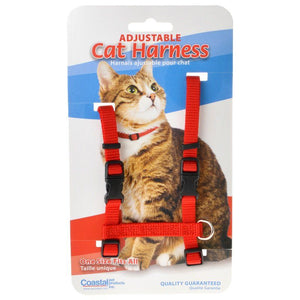 "Tuff Collar Nylon Adjustable Cat Harness - Red Girth Size 10""-18"" - All Pets Store"