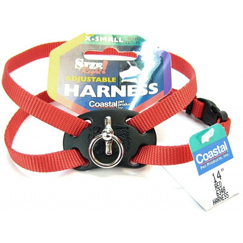 "Coastal Pet Size Right Nylon Adjustable Harness - Red X-Small - (Girth Size 10""-18"") - All Pets Store"