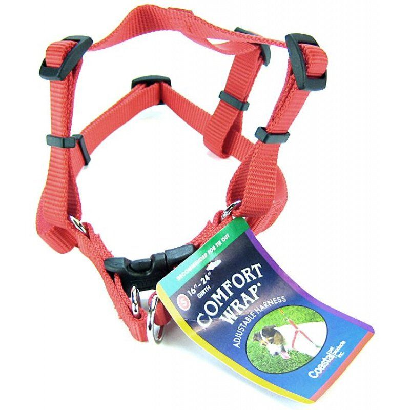 Tuff Collar Nylon Adjustable Comfort Harness - Red Small (Girth Size 16