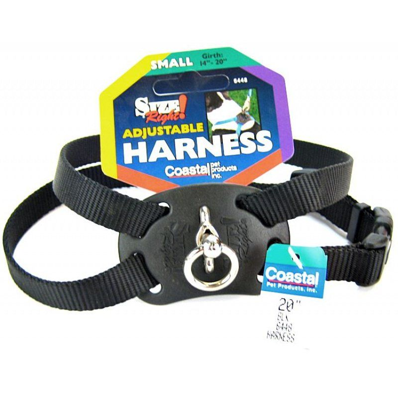 "Coastal Pet Size Right Nylon Adjustable Harness - Black Small (Girth Size 18""-24"") - All Pets Store"