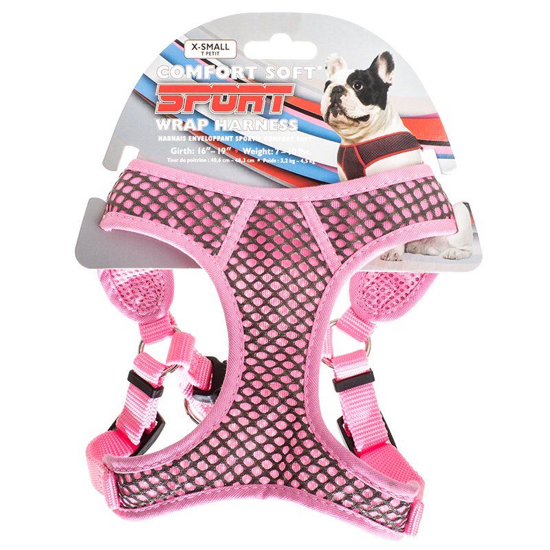 Coastal Pet Sport Wrap Adjustable Harness - Pink X-Small (Girth Size 16