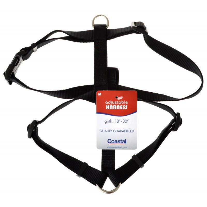 Coastal Pet Nylon Adjustable Harness - Black Medium (Girth Size 18