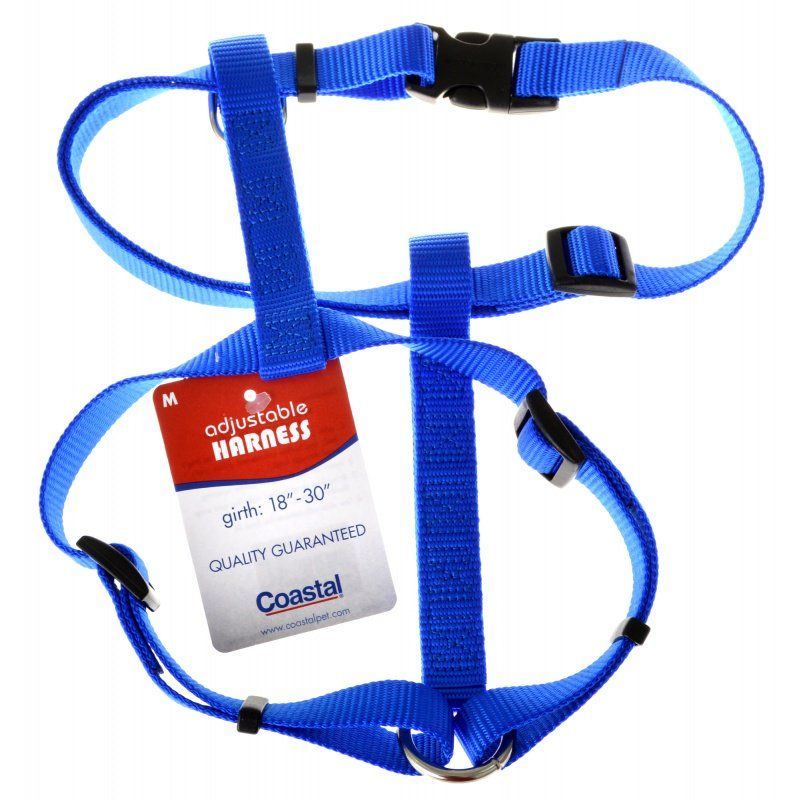 "Coastal Pet Nylon Adjustable Harness - Blue Medium (Girth Size 18""-30"") - All Pets Store"