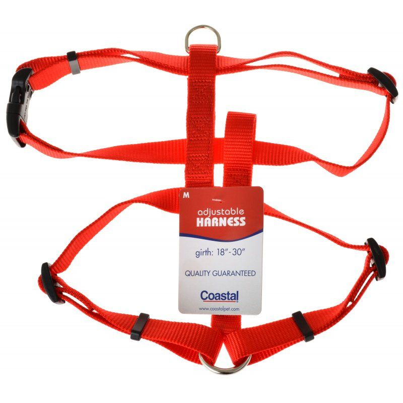 "Coastal Pet Nylon Adjustable Harness - Red Medium (Girth Size 18""-30"") - All Pets Store"