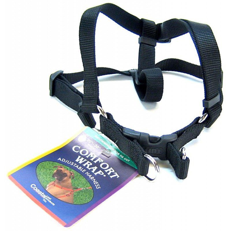 "Coastal Pet Comfort Wrap Adjustable Harness - Black Medium (Girth Size 20""-32"") - All Pets Store"