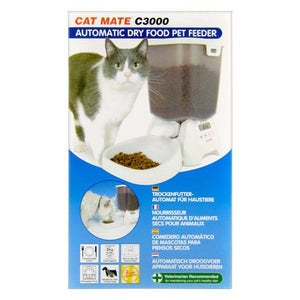 Cat Mate Automatic Dry Pet Food Feeder C3000 Program to Feed 3x/Day - All Pets Store
