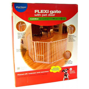 "Carlson Pet Gates Flexi Walk Thru Gate with Pet Door - White X-Tall - up to 76"" Wide x 38"" Tall - All Pets Store"