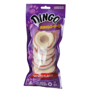 "Dingo Ringo-o-o Meat & Rawhide Chew 2.75"" (5 Pack) - All Pets Store"