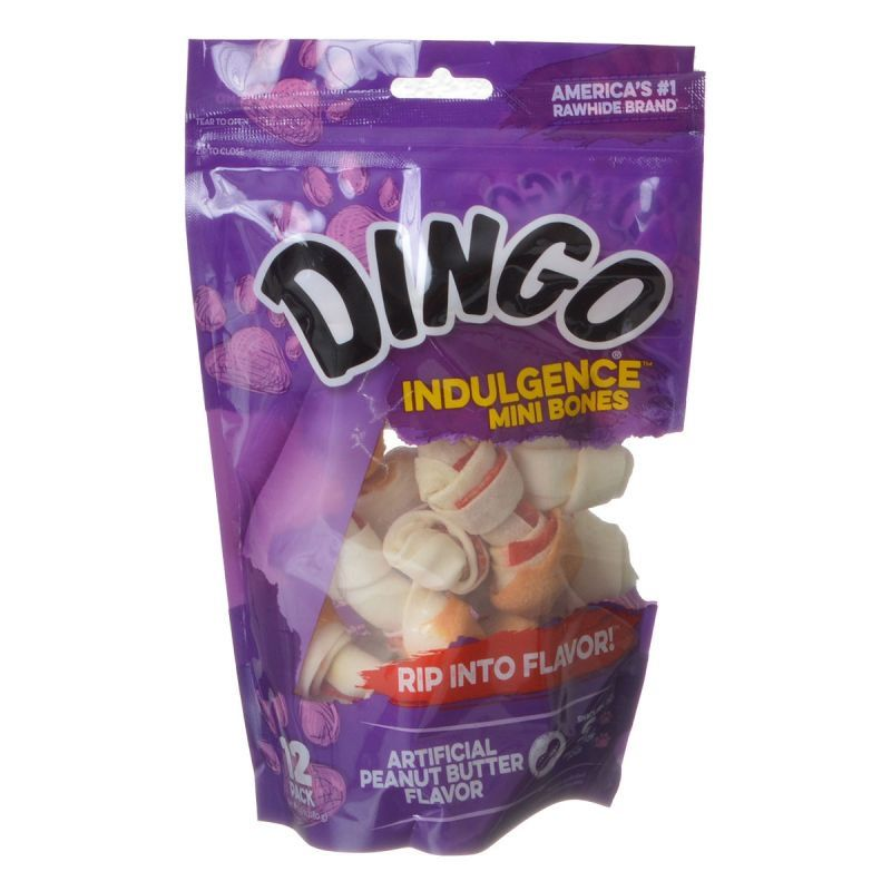 "Dingo Indulgence Peanut Butter Meat & Rawhide Chews Mini - 2.5"" (12 Pack) - All Pets Store"