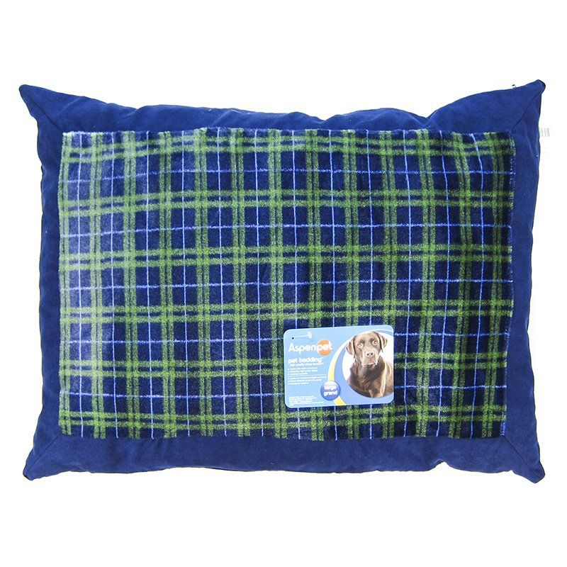 "Aspen Pet Plaid Pillow Bed - Assorted Colors 27"" Long x 36"" Wide - All Pets Store"