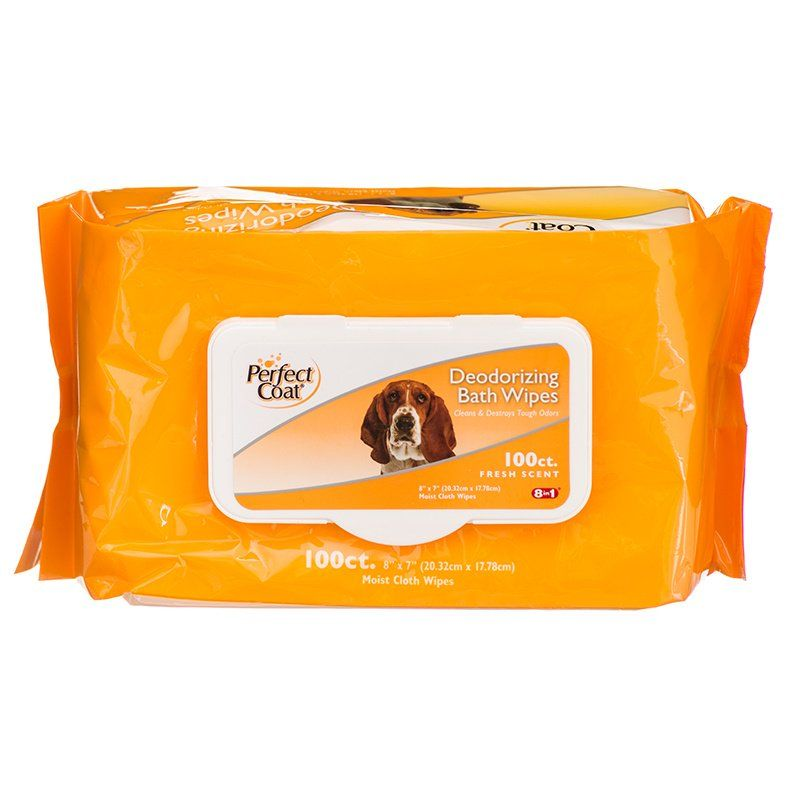 Perfect Coat Deodorizing Bath Wipes for Dogs 100 Pack