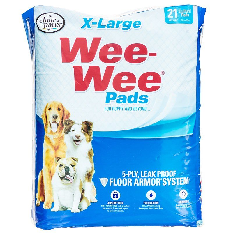 "Four Paws X-Large Wee Wee Pads 21 Pack (28"" Long x 30"" Wide) - All Pets Store"