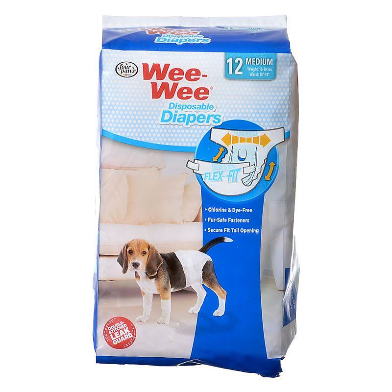 "Four Paws Wee Wee Diapers for Dogs 12 Pack - Medium (Dogs 15-35 lbs with 18""-25"" Waist) - All Pets Store"