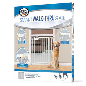 "Four Paws Smart Walk-Thru Gate 30""-34"" Wide x 30"" High - All Pets Store"