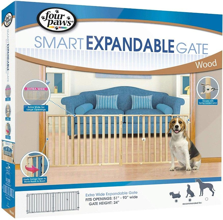 "Four Paws Extra Wide Wood Safety Gate 53""-96"" Wide x 24"" High - All Pets Store"