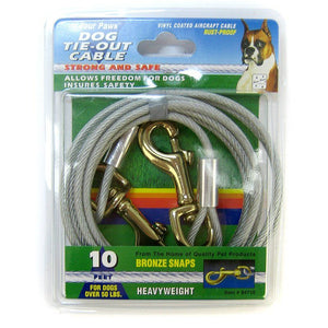 Four Paws Dog Tie Out Cable - Heavy Weight - Black 10' Long Cable - All Pets Store