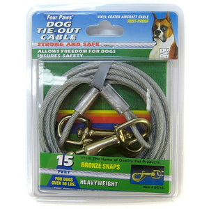 Four Paws Dog Tie Out Cable - Heavy Weight - Black 15' Long Cable - All Pets Store