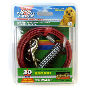 "Four Paws Dog Tie Out Cable - Medium Weight - Red 30"" Long Cable - All Pets Store"