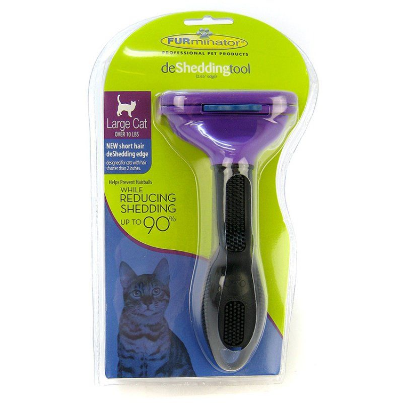 "FURminator deShedding Tool for Cats Short Hair Large Cats (Under 2"" Hair Length)"